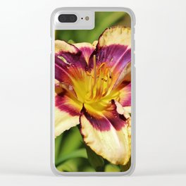 Peach And Wine Daylily Clear iPhone Case