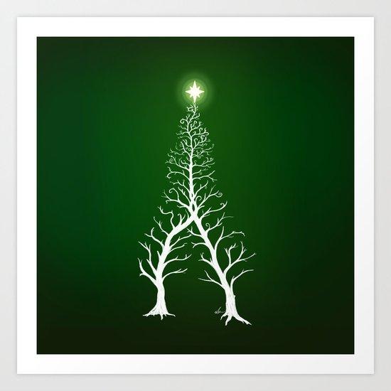 Christmas Tree Intertwined - painting Art Print