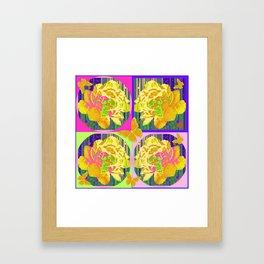 Yellow Summer Monarch  Butterfy Rose Abstract Framed Art Print