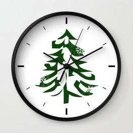 Christmas Tree with Snowflakes Wall Clock