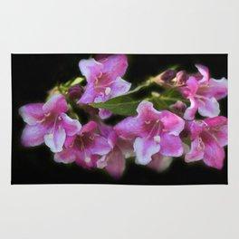 blossoms on black background -02- Rug