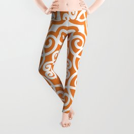 Ornaments damask seamless white and orange curves pattern Leggings