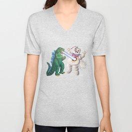 Godzilla vs Stay Puft Unisex V-Neck