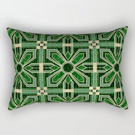 Art Deco Floral Tiles in Emerald Green and Faux Gold Rectangular Pillow