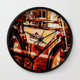 Barber shop vintage photograph of an antique bicycle Wall Clock