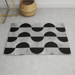 Black abstract 60s circles on concrete - Mix & Match with Simplicty of life Rug