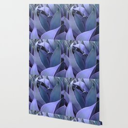 Abstract Leaves Periwinkle Teal Wallpaper