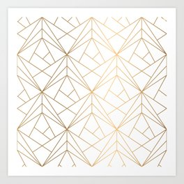 Geometric Gold Pattern With White Shimmer Art Print