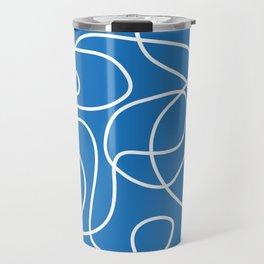 Doodle Line Art | White Lines on Bright Blue Travel Mug