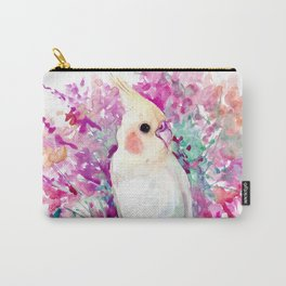 Coral Pink Flowers and Parrot Carry-All Pouch