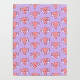 Patterned Happy Uterus in Purple Poster