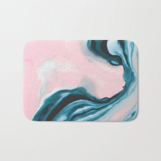 Pink and blue tide Bath Mat