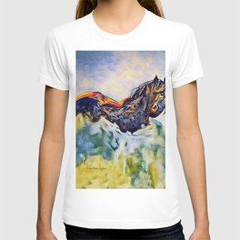 Wild Horse in Sea of Grass watercolor by CheyAnne Sexton T-shirt