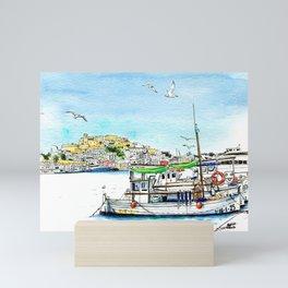 Ibiza fishing boat Mini Art Print