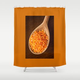 Healthy food red lentils on wooden spoon Shower Curtain