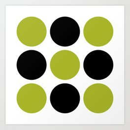 Mid Century Modern Polka Dot Pattern 9 Black and Chartreuse Art Print