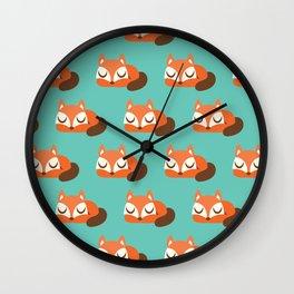 Sleeping Fox Print - Teal Wall Clock