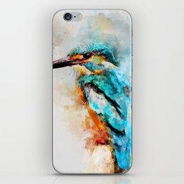 Watercolor kingfisher bird iPhone Skin