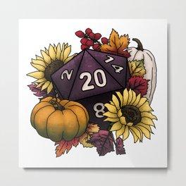 Harvest D20 - Autumn Tabletop Gaming Dice Metal Print