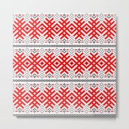 Unity - Force Protection Abundance - Ethno Ukrainian Traditional Pattern - Slavic Ornament Red Black Metal Print