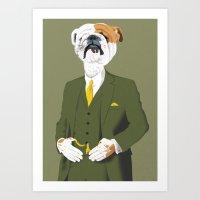 english bulldog Art Prints featuring English Bulldog by Studio Drawgood