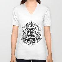 pitbull V-neck T-shirts featuring pitbull inside by Fabio Brambilla LGT