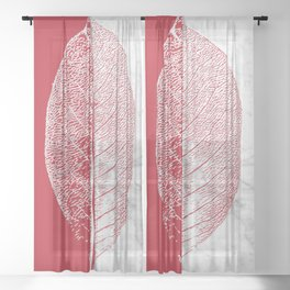 Natural Outlines - Leaf Red & White Marble #930 Sheer Curtain