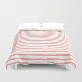Pink Drawn Stripes Duvet Cover