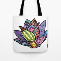 lotus flower Tote Bags featuring Lotus by Ilse S