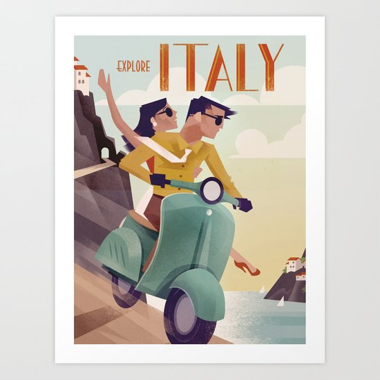Vintage Travel Poster Italy by martinwickstrom
