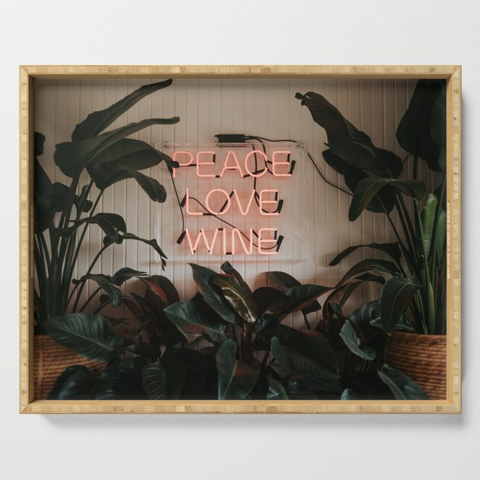 Peace Love Wine Tropical Vibes Serving Tray