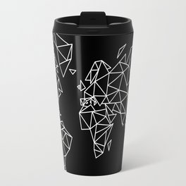 White on Black Geometric Low Poly Map of The World / Polygon geometry Travel Mug