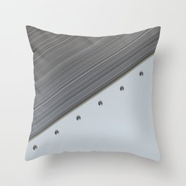 White plate with rivets and circular metal grille Throw Pillow