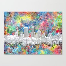 indianapolis city skyline watercolor Canvas Print