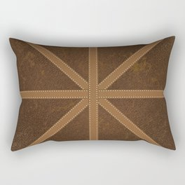 Digitial Faux Brown Leather and Union Jack Cross Design Rectangular Pillow