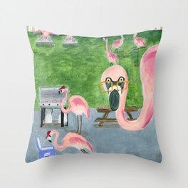Yard Flamingo BBQ Throw Pillow