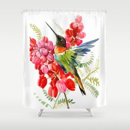 Collared Inca Hummingbird and Coral Pink Flowers Shower Curtain