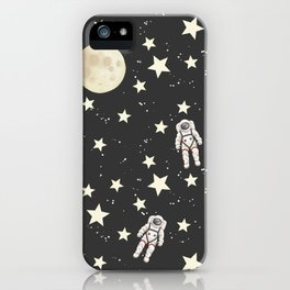 Space - Stars Moon and Astronauts on black iPhone Case