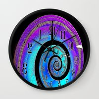 mandie manzano Wall Clocks featuring Back in time by JT Digital Art