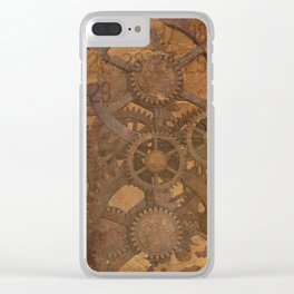 Vintage Gears Pattern (Color) Clear iPhone Case
