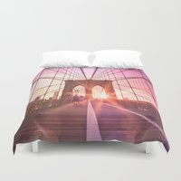 brooklyn bridge Duvet Covers featuring Brooklyn Bridge  by Vivienne Gucwa