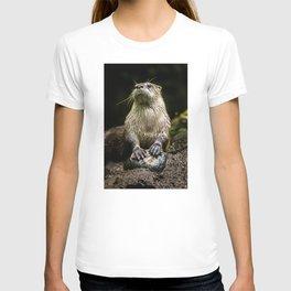 Otter Paws, Otter Prints, Cute Otter Art, Otter Pillow, Otter Gifts,Animal Art, Large animal Canvas T-shirt