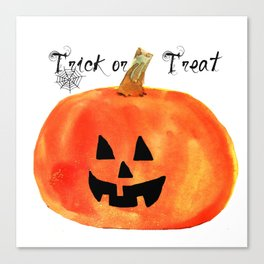 Trick or Treat Jack-O-Lantern, Halloween Pumpkin Canvas Print