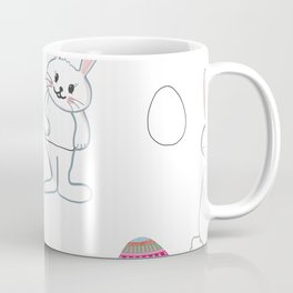 Cute bunny or rabbit and colorful easter eggs pattern Coffee Mug