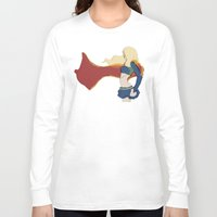 supergirl Long Sleeve T-shirts featuring Supergirl v1 by Hallowette