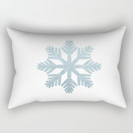 Blue Glitter Snowflake Rectangular Pillow