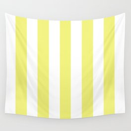 Sunny yellow - solid color - white vertical lines pattern Wall Tapestry