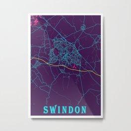 Swindon Neon City Map, Swindon Minimalist City Map Art Print Metal Print