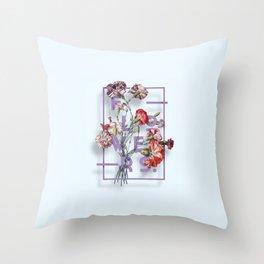 Flowers Bloom Botanicals Vintage Illustration Poster #3 Throw Pillow