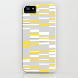 Mosaic Rectangles in Yellow Gray White #design #society6 #artprints iPhone Case